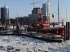 Hamburg Hafen die Elbe führt Eis