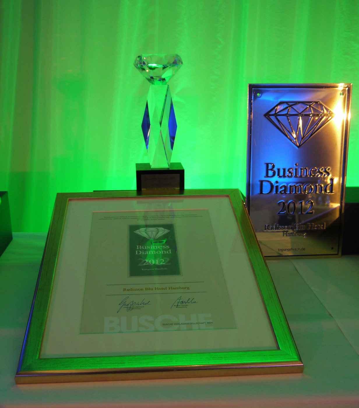 Business Diamond Award Radisson Blu Hotel Hamburg 2012