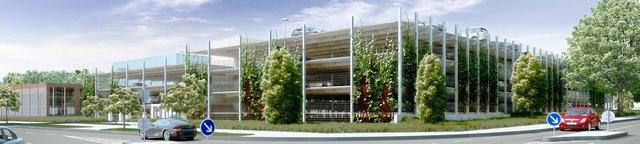 Das geplante neue Parkhaus für Holiday Parker am Flughafen Hamburg