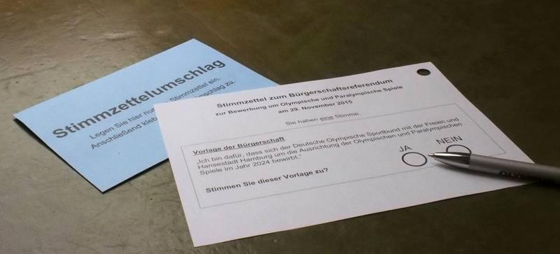 Wahlschein Olympia Referendum Hamburg