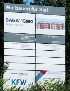 Bauschild der SAGA in Hamburg Poppenbüttel