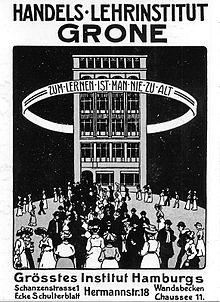 Historisches Plakat Grone Schule