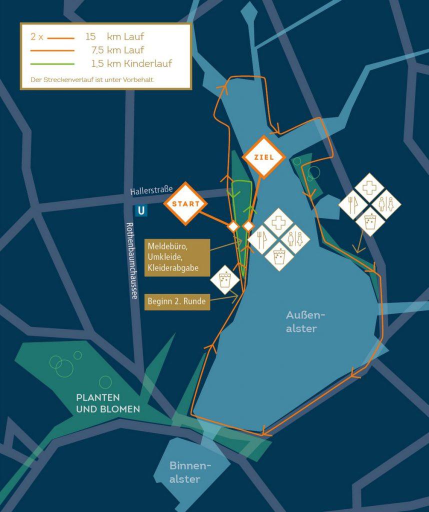 Karte: Sport Scheck Stadtlauf und Nachtlauf rund um die Außenalster