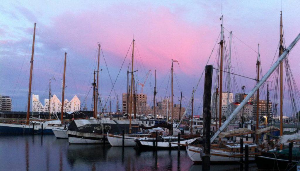 Aarhus Hafen Sonnenuntergang