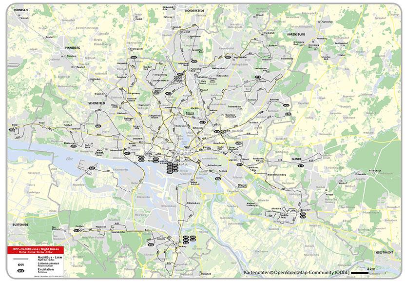 Linienplan Nachtbuslinien HVV machen mobil in Hamburg