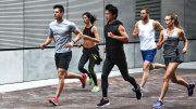 Eine Laufgruppe auf der Straße