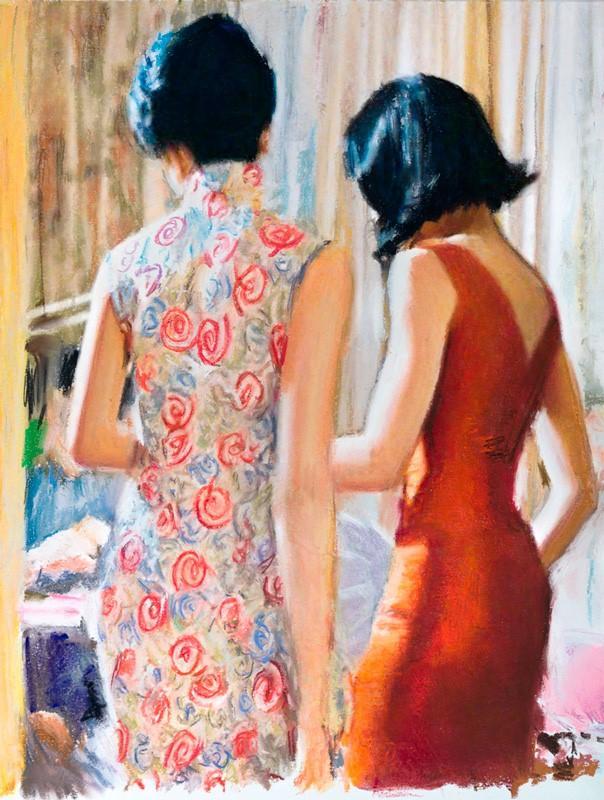 Bilde mit zwei Frauen im Kleid