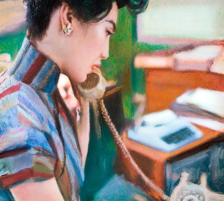 Bild eine Frau telefoniert