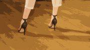 Frauenbeine mit Schuhen