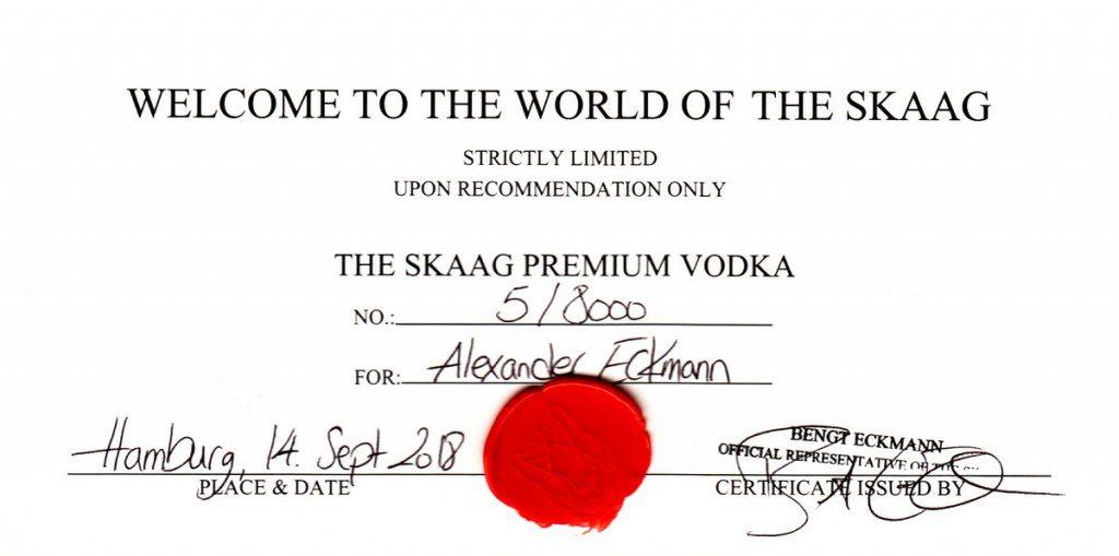 Zertifakt für den THE SKAAG Vodka