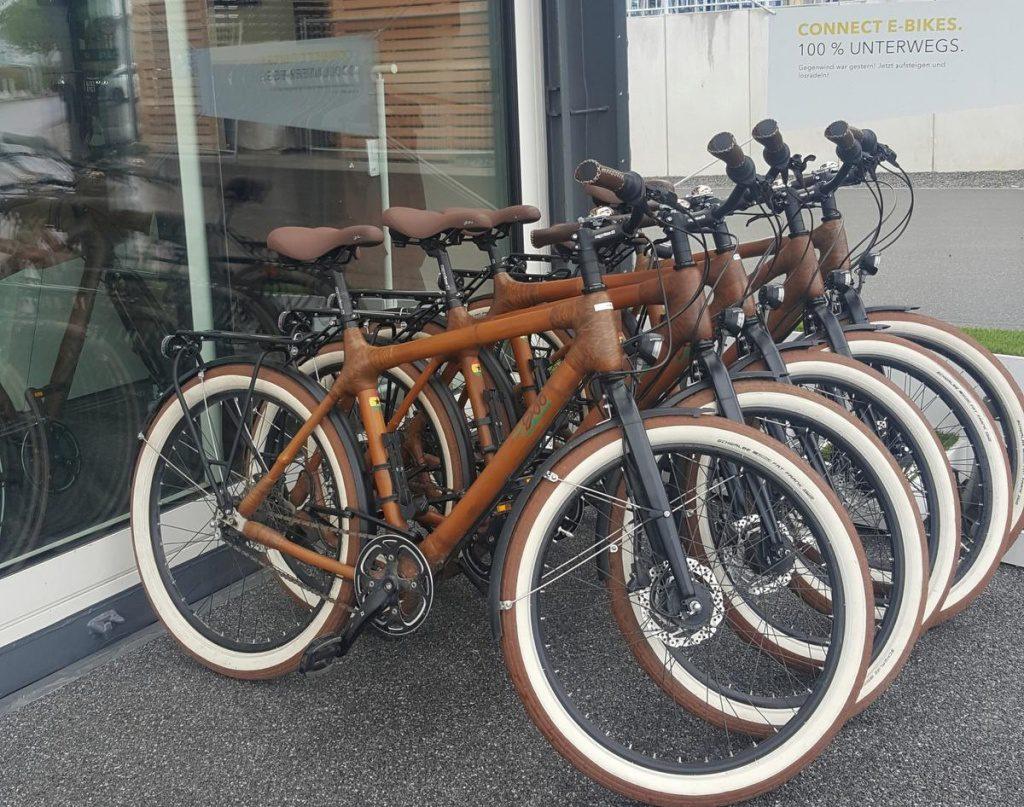Bambus Fahrräder können ausgeliehen werden