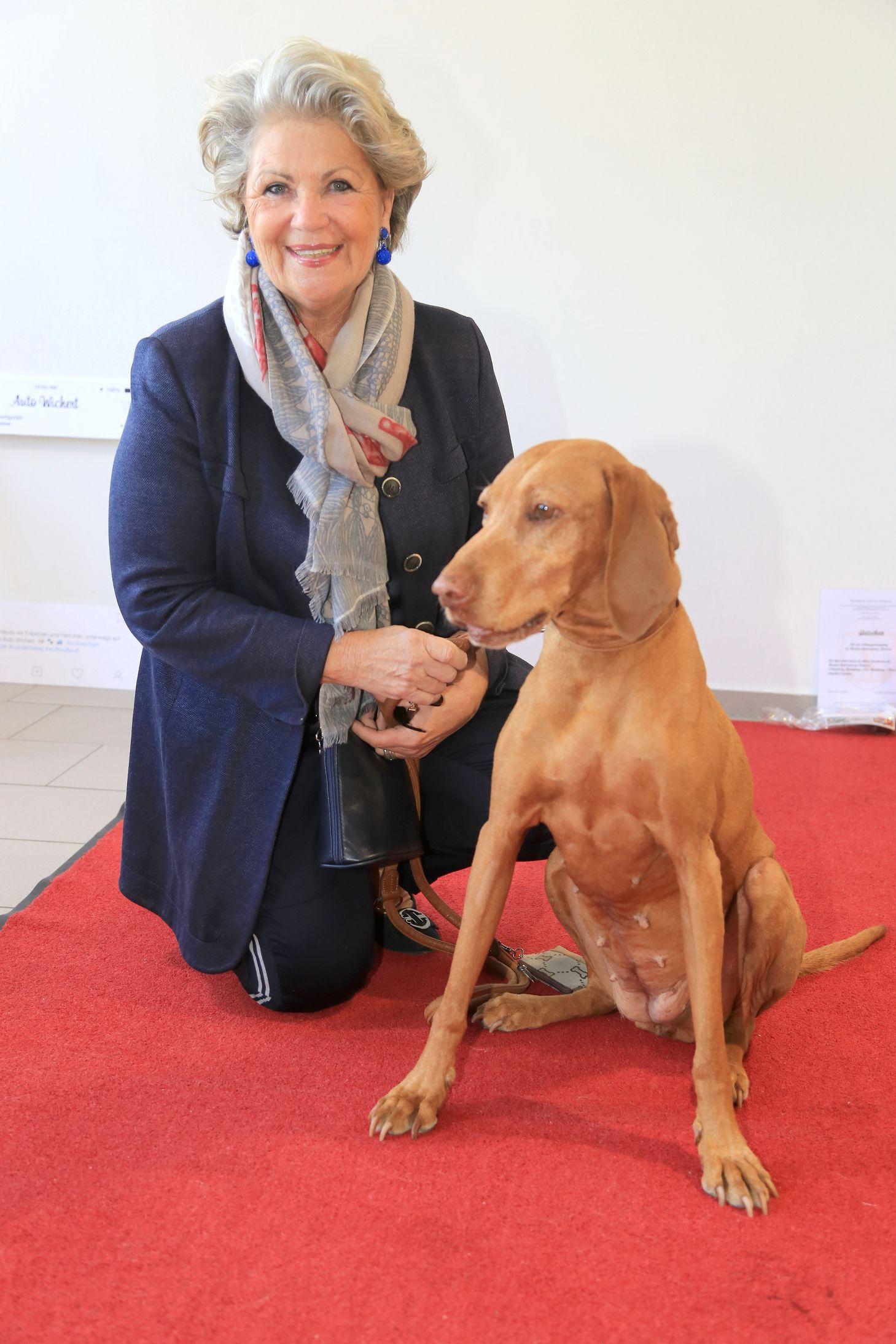 Charitylady Hannelore Lay mit Vizsla-Hündin Emmy auf der Hamburger Hundemesse