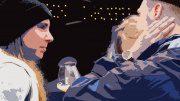 Mann und Frauen sprechen miteinander bei einem Bier