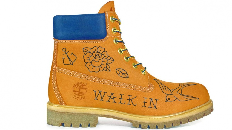 Timberland Yellow Boot mit Tätowierungen
