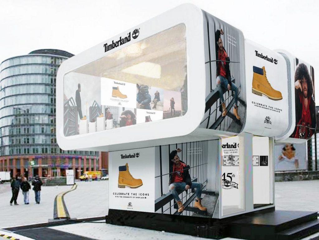 Der Timberland Tattoo Experience Cube ein Aktionspunkt in der HafenCity