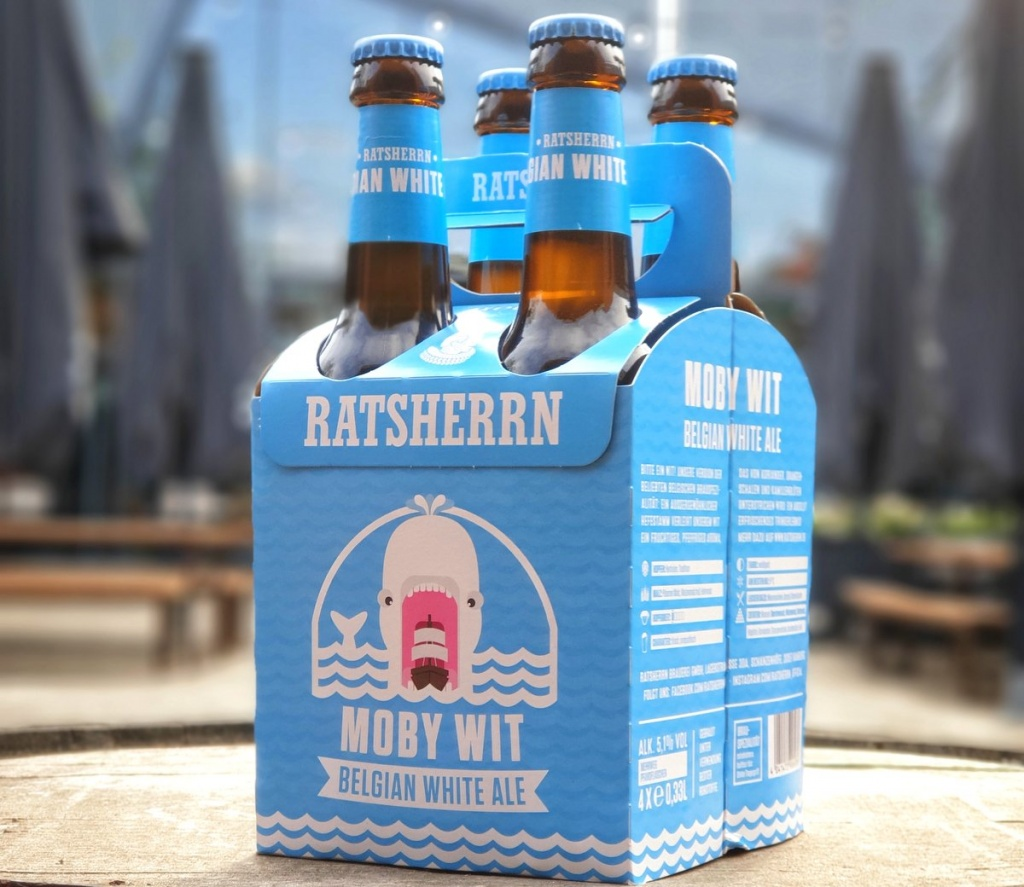 Das Bier Ratsherrn Moby Wit im 4er Träger