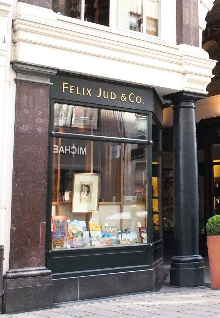 Ladenfront der Buchhandlung Felix Jud in Hamburg