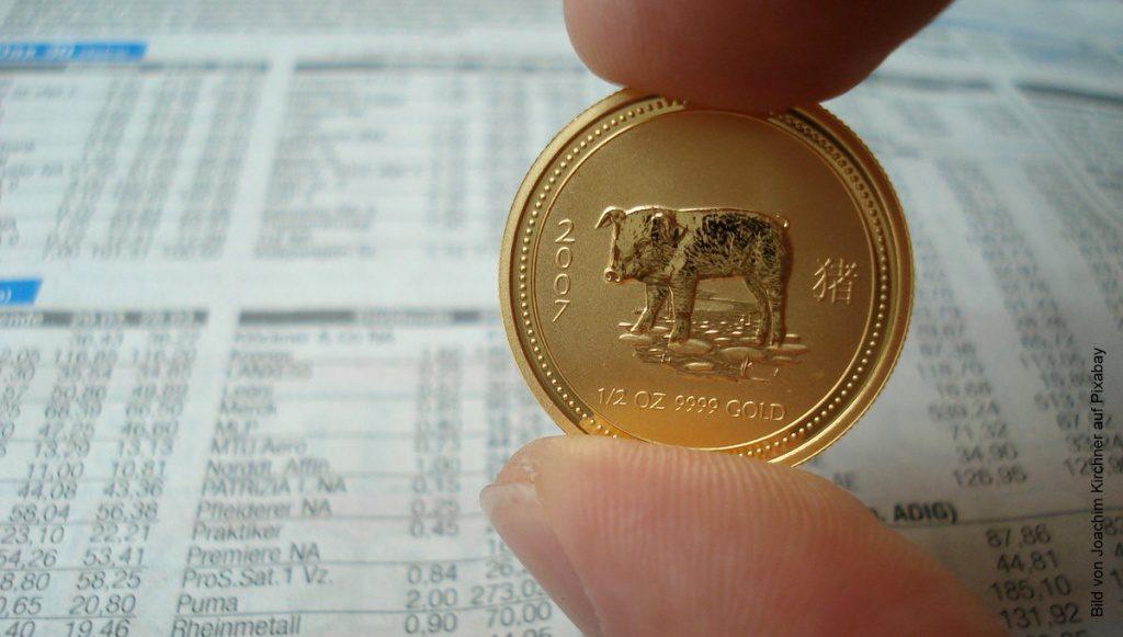 Eine chinesische Goldmünze