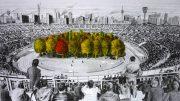 Wald in einem Sportstadion Zeichnung von Max Peintner