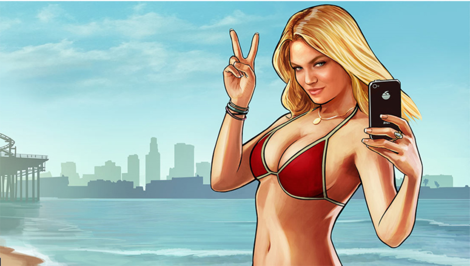 Screenshot GTA V Girl im roten Bikini
