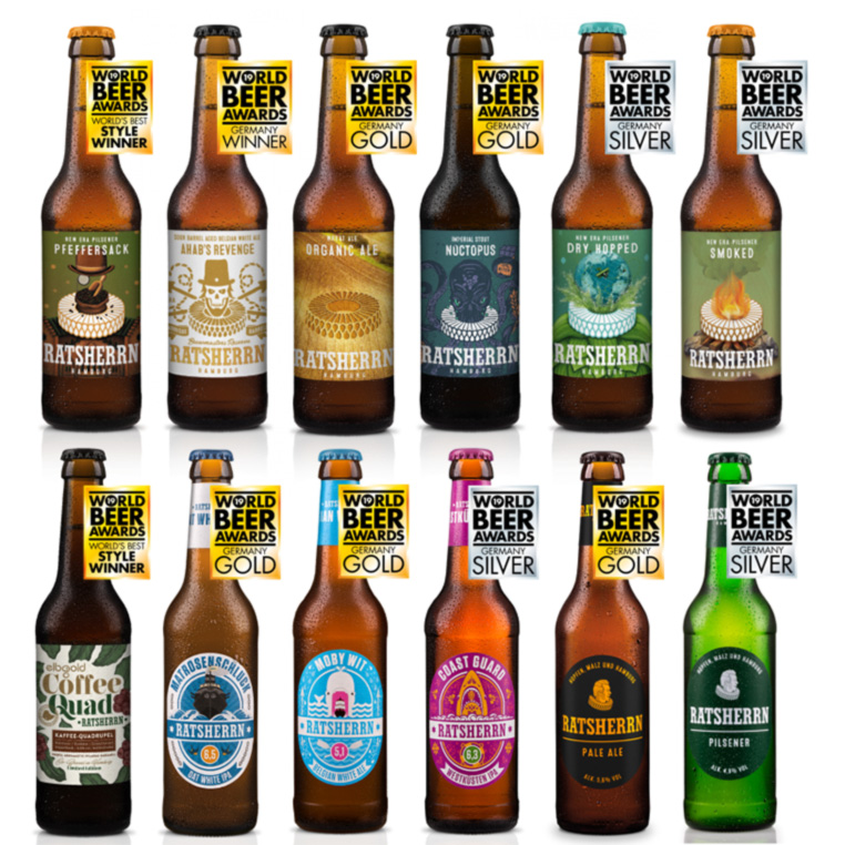 Die Gewinnerbiere von Ratsherrn beim World Beer Award, 9 Flaschen