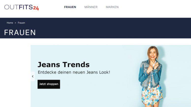 Screenshot der Seite des Onlinehändlers Outfits 24