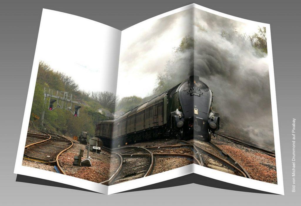 Flyer mit Eisenbahnmotiv