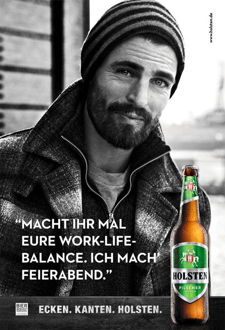 Holsten Pilsener Werbemotiv 2012 schwazweiss Mann mit Bart und Mütze