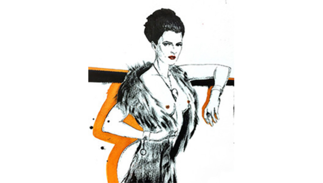 Erotische Zeichung von Sherin L'Artiste - Lady in Fur