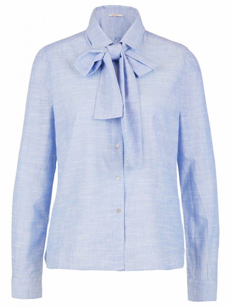Blaue Bluse mit Schleifen