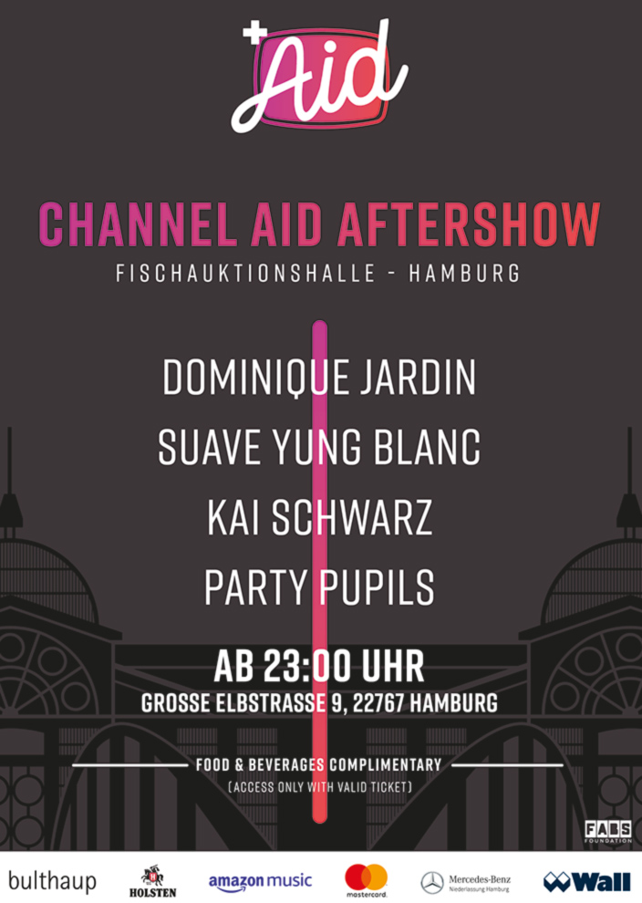 Poster Channel Aid AFTERSHOW PARTY in der Fischauktionshalle