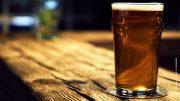 Glas Bier auf einer Theke