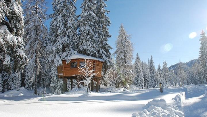 Glamping Baumhaus im Schnee im Caravanpark Sexten