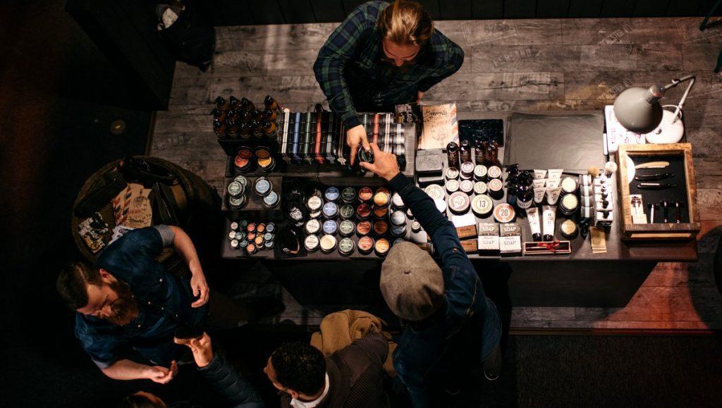 Barber Shop Stand von oben aufgenommen