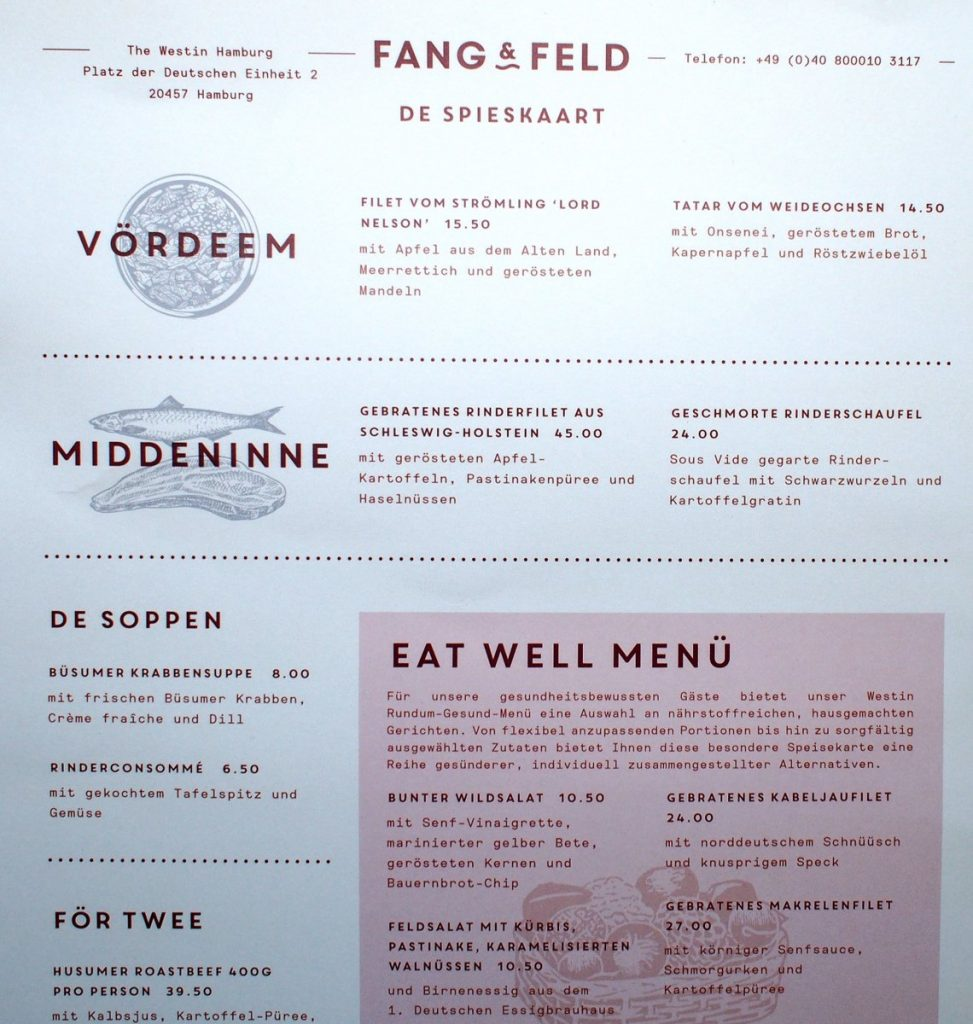 Restaurant The Westin Fang und Feld Speisekarte