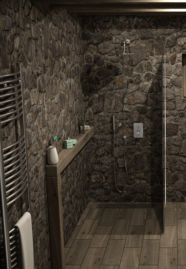 Walk-in-Dusche mit Natursteinen und Glaswand