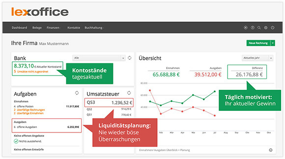 Screenshot der Software Lexoffice