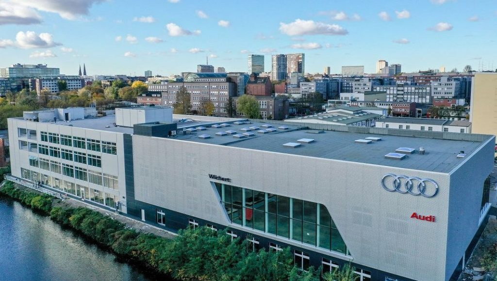 Auto Wichert Audi terminal in Hammerbrook von oben