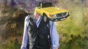 Das Bild Transformer, Mann mit Auto als Gesicht