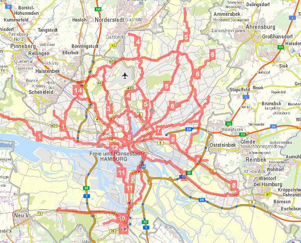 Karte Geplante Hamburger Velorouten