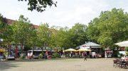 Blick auf den Winterhuder Marktplatz in Hamburg