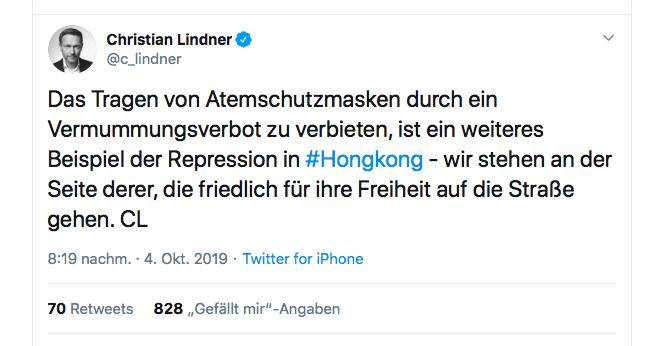 Ein Tweet von Christian Lindner FDP