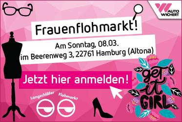 Ankündigung Frauenflohmarkt in Hamburg Altona beim Autohändler Auto Wichert