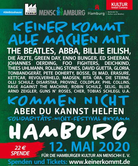 Plakat für das Corona hilft Konzert: Keiner kommt - alle machen mit - in Hamburg