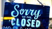 Ladenschluß-Schild - Sorry we are closed, dunkel Blau mit weißer Schrift
