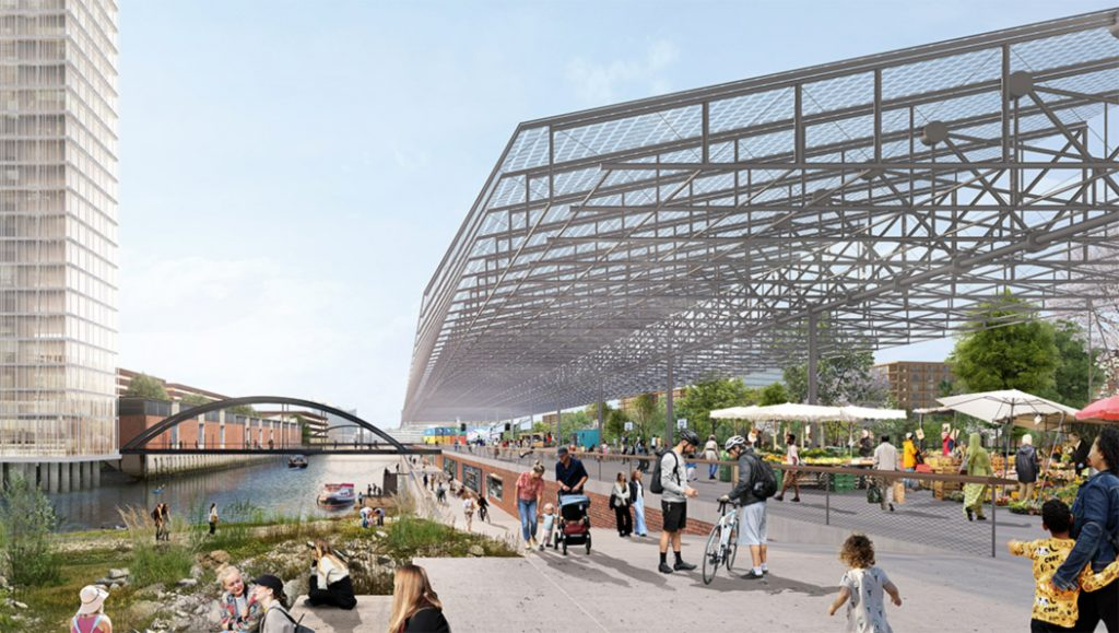 Das geplante Glasdach im Grasbrook Park