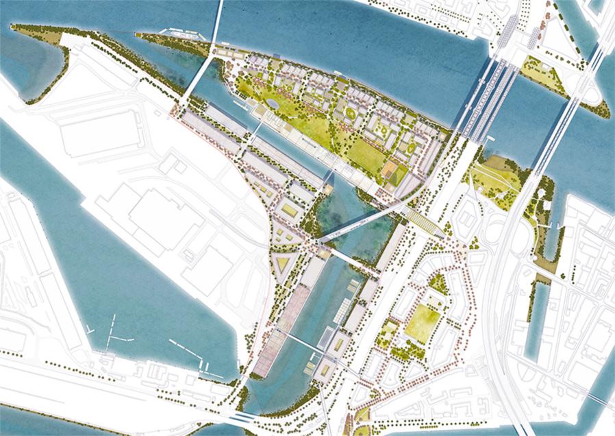 Der Entwurf des Lageplans Hamburg Grasbrook