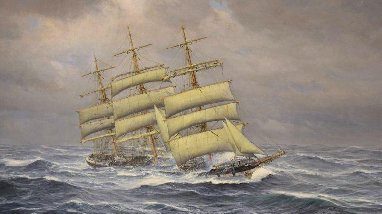 Gemälde Vollschiff Siam im Sturm mit gereffeten Segeln
