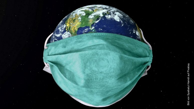 Welt mit Corona-Maske
