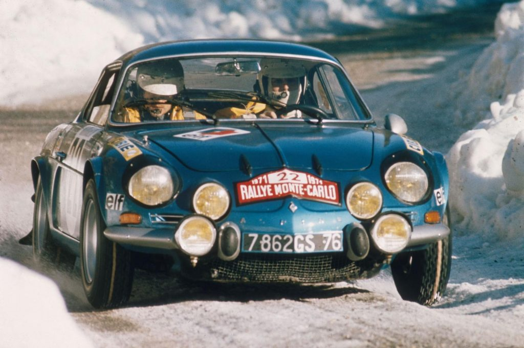 Historische Alpine A110 Foto, Rallye Monte Carlo im Schnee